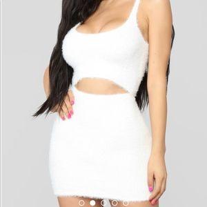 444293cf1d Fashion Nova Dresses - New! FASHION NOVA Cut To The Chase Fuzzy Dress WHT